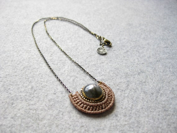 Mini O R Ü N Necklace . Labradorite  Stone set in Brass .  Micro Macrame Jewelry . . Design by  .. raïz ..