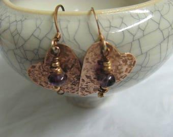 Heart Amethyst  Earrings, Tiny Copper Heart Dangle Earrings.