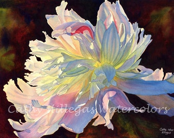 Peony watercolor painting print, 16 x 22, by Cathy Hillegas, watercolor peony, floral watercolor print, pink blue art, gifts for mom