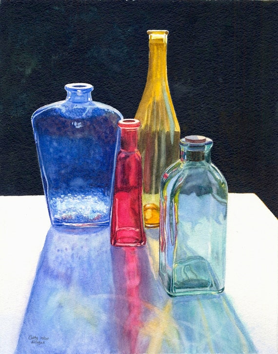 Glass Bottles Art Watercolor Painting Print By Cathy Hillegas