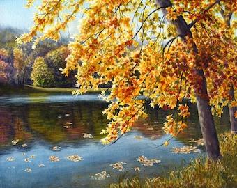 Autumn watercolor landscape painting print by Cathy Hillegas, 8x10 art print, autumn colors, lake house decor