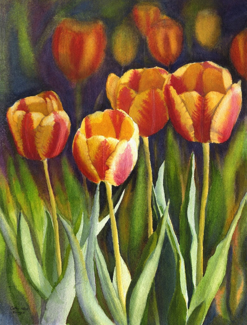Yellow Red Tulips watercolor floral print from original image 0