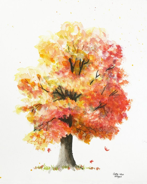 Herbst Baum Aquarell Druck Cathy Hillegas 8 X 10 Aquarell Etsy