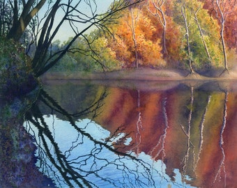Autumn On Blue River II, landscape watercolor painting print by Cathy Hillegas, 8x10, autumn landscape, watercolor print, orange, red, green