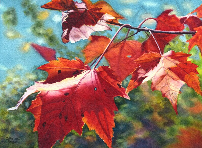Autumn leaves art watercolor painting print by Cathy Hillegas image 0