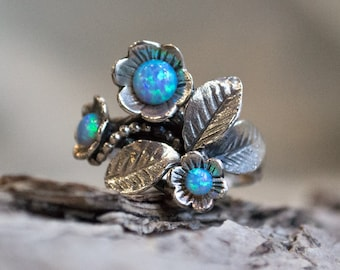 Opals ring, mothers ring, Sterling silver ring, leaf ring, flowers ring, gemstones ring, floral ring, birthstones ring - Blue grass R1696-1