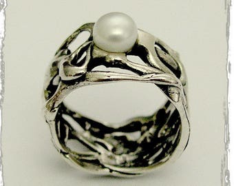 Wide silver ring, pearl ring, organic band, silver ring, silver band, wedding band, engagement ring, silver pearl band - Confusion R1590