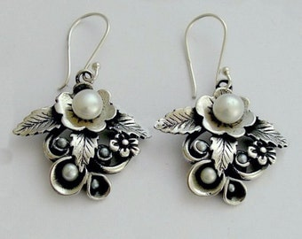 sterling silver earrings, botanical earrings, leaf earrings,  pearl earrings, bridal earrings, botanical earrings - After the rain E2154