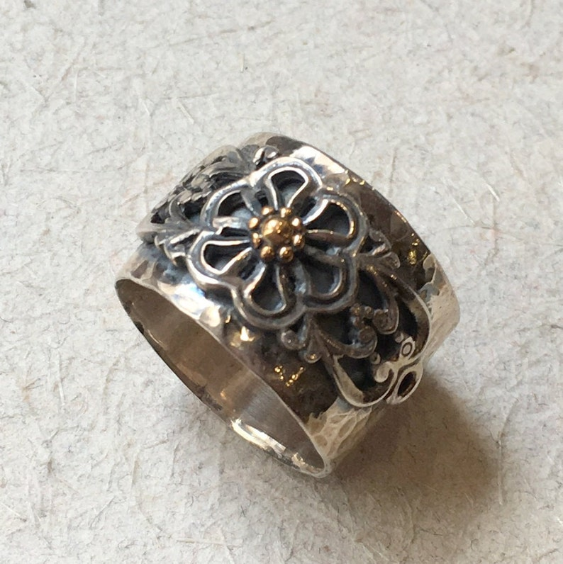 A special day R2385 Sterling silver gold band flowers ring floral band boho ring simple band wide band floral ring Bohemian ring