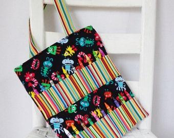 Monsters Crayon Bag Birthday Gift for Boys Childrens Art Bag Crayon Tote