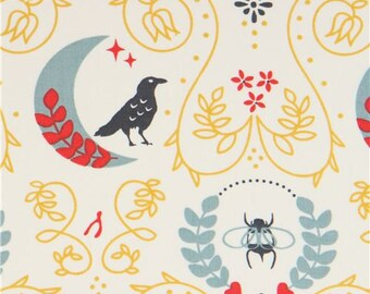 218441 light cream with bird animal bee insect leaf birch organic fabric  from the USA 23c02f97e