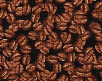 COFFEE BEANS ROAST BEAN JAVA BROWN BLK COTTON FABRIC BTHY