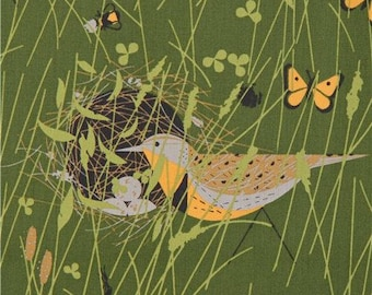 218454 green with bird animal insect organic poplin fabric from the USA a2acc371a
