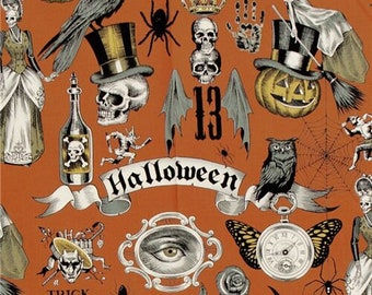 247633 Alexander Henry orange brown skull pumpkin spider Halloween fabric Trickery