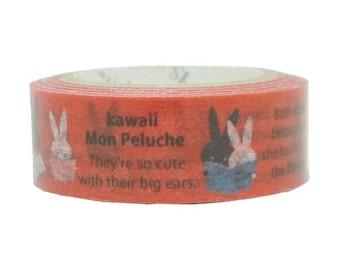 210667 red with bunny reading Washi Masking Tape deco tape Shinzi Katoh