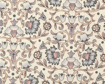 247453 Culloden Vine Emporium Collection cream cotton with pink and grey floral foliage fabric by Liberty Fabrics