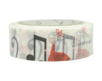 210655 white with little girl music note Washi Masking Tape deco tape Shinzi Katoh