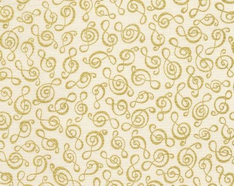 217658 cream with treble clef music note gold metallic fabric by Timeless Treasures