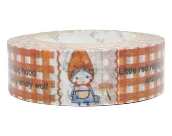 210636 red white checkered with Riding Hood Washi Masking Tape deco tape Shinzi Katoh