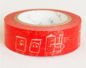 210632 red with cute train Washi Masking Tape deco tape Shinzi Katoh