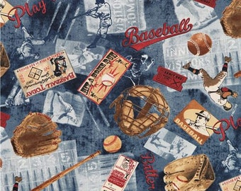 245158 USA Timeless Treaures vintage sports fabric baseball bat player glove