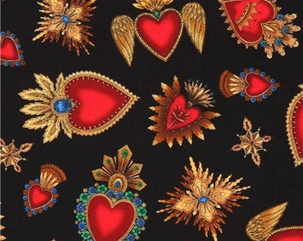 222299 black Timeless Treasures fabric with heart brooches