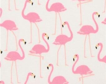 219782 pink flamingo bird animal Oxford light cream fabric from Japan