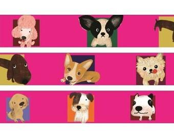 210694 pink with funny dog Washi Masking Tape deco tape Shinzi Katoh