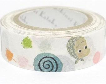 210707 white with cute face swirl Washi Masking Tape deco tape Shinzi Katoh