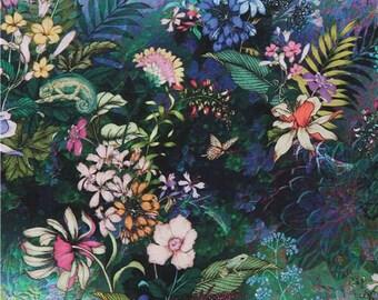 241390 Robert Kaufman Topia colorful flower garden fabric with birds