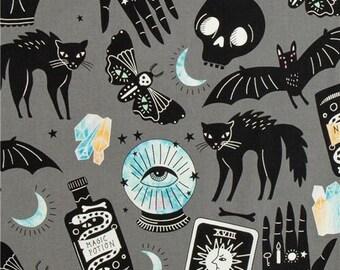 247489 Halloween gray fabric by Alexander Henry Haunted House black bat skull cat