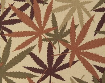 217136 olive green Alexander Henry cannabis herb leaves fabric