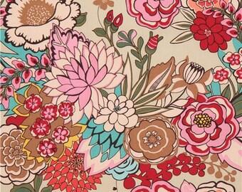 219917 flower Alexander Henry brown fabric Garden At Coyoacan
