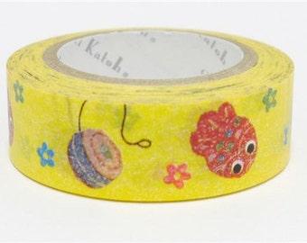 210710 yellow with toy small flower Washi Masking Tape deco tape Shinzi Katoh