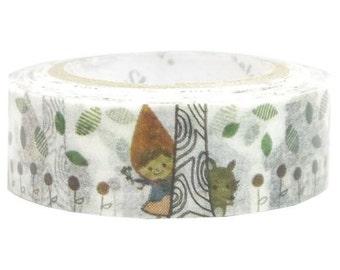 210842 white cute house wolf leaf Washi Masking Tape deco tape Shinzi Katoh