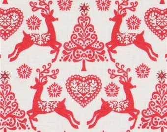 215891  beige fabric with red reindeer Christmas tree makower uk Scandi 4
