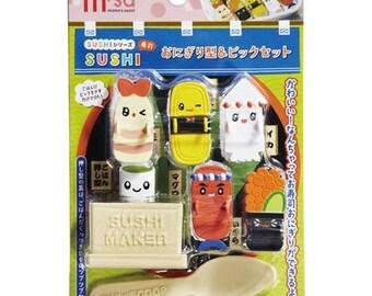 203616 cute colorful sushi maker spoon pick set