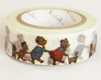 210685 white with bear walking Washi Masking Tape deco tape Shinzi Katoh