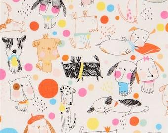 214337 beige Alexander Henry fabric cute colorful dog dot Puppy Polka Dot