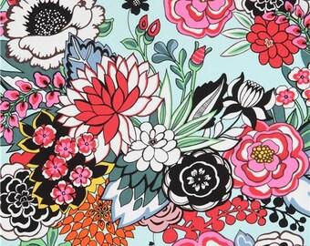219918 flower Alexander Henry light turquoise fabric Garden At Coyoacan