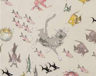 244638 Alexander Henry The Ghastlies A Ghastlie Dive animal fabric in cream with fish cat