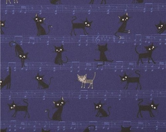 212223 dark blue with small black grey cat music note laminate fabric from Japan