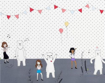 230289 white polar bear birthday party fabric with double border by Michael Miller