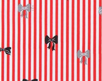 213896 white red stripe fabric grey black bow Ink & Arrow