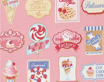 218541 pink Kokka fabric with signs for ice cream donut pie sweet treat shop