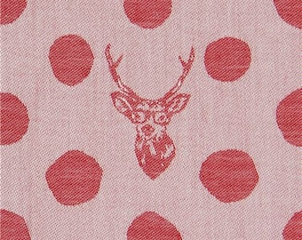 237960 echino Jacquard fabric with polka dots and deer in red