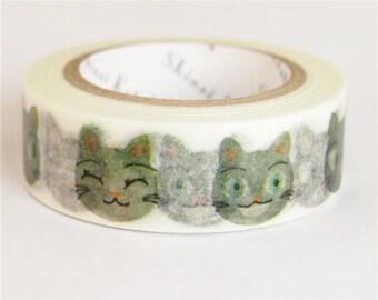 210630 white with funny cat face Washi Masking Tape deco tape Shinzi Katoh