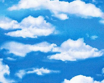 219426 blue fabric with cloud sky by Timeless Treasures