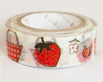 210631 white with basket strawberry Washi Masking Tape deco tape Shinzi Katoh