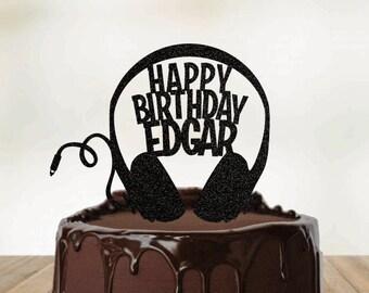 DJ Headphones Custom Namer Cake Topper, TikTok Birthday, Headphones Cake Topper